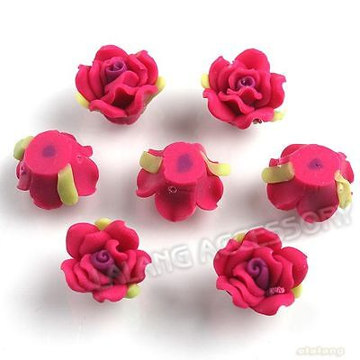 30pcs Hot Pink Flowers With Leaves Flatback Polymer Clay Beads Decor Handcraft C