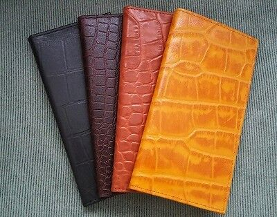 Mens Women Crocodile Pattern Brown Black Tan REAL LEATHER Checkbook Cover Wallet