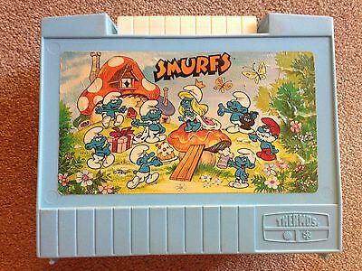 Vintage Smurf Plastic Lunch Box Thermos King Seeley Suitcase Style