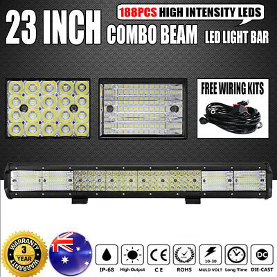 """QUAD ROWS 23inch Philips LED Light Bar Spot Flood Offroad Driving Work 4x4WD 20"""""""