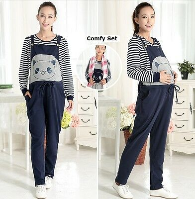 New Overalls Jumpsuits W/ Matching Nursing Breasffeeding Top Shirt Cute Bear 202