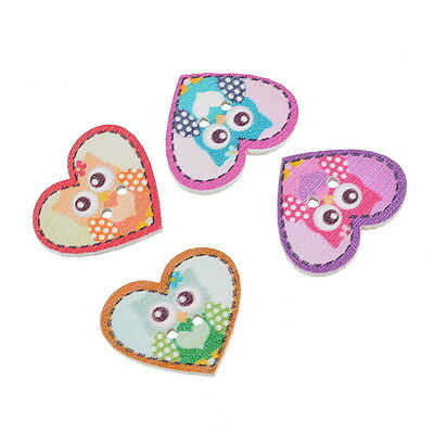 50PCs Craft Cute Cartoon Owl Heart 4-Hole Wooden Buttons Sewing Scrapbook NEW