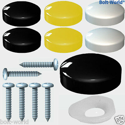 12 Pcs Number Plate Fixing Screw Cover Cap Kit Black White Yellow Caps + Screws
