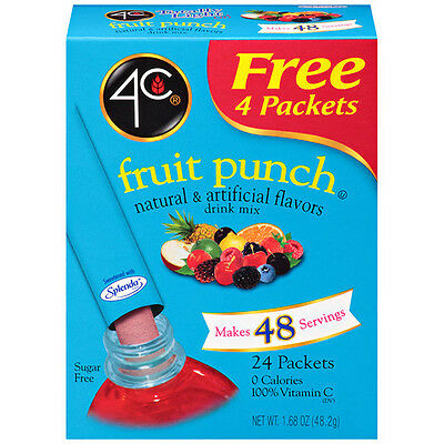 4C Sugar Free Drink Mix 24 Stix - Fruit Punch, Diabetic, Low Carb