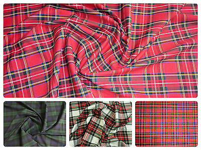"""Flat Weave 100% Cotton Tartan Fabric Material Double Sided -- 147cm (58"""") wide"""