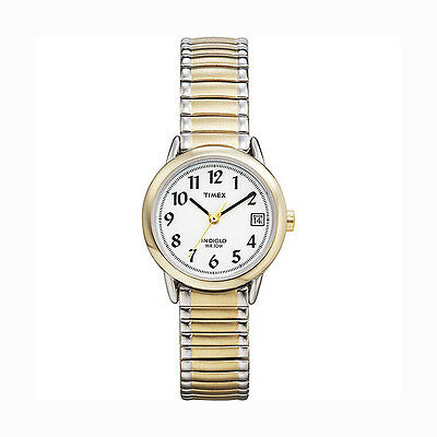 Ladies' Two Tone Timex Watch with Date Indiglo Light
