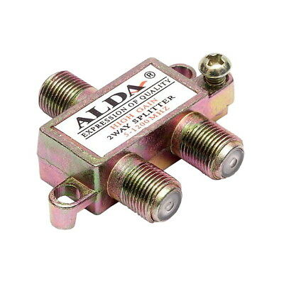 2 way Signal Splitter + 3 F connectors for Coaxial Cable TV Aerial Antenna SKY