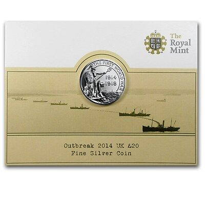 2014 Great Britain UK Silver £20 Outbreak of World War I Silver Coin