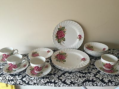 Vintage Princess Rose Wood And Sons Dinner Set For Four E/C