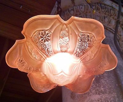 Antique Art Deco Light Fixture CONSOLIDATED Martele Slip Shade Glass Chandelier