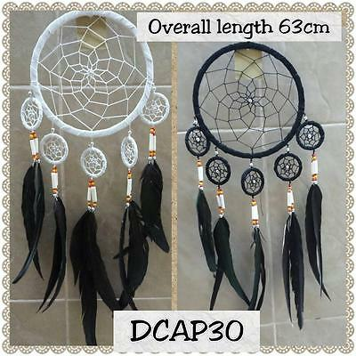 soft leather bound dream catcher  overall drop approx 63 cm DC30 16 cm ring
