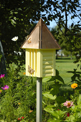 Heartwood Flutterbye Butterfly House - Yellow w/Solid Copper Roof 096A NEW