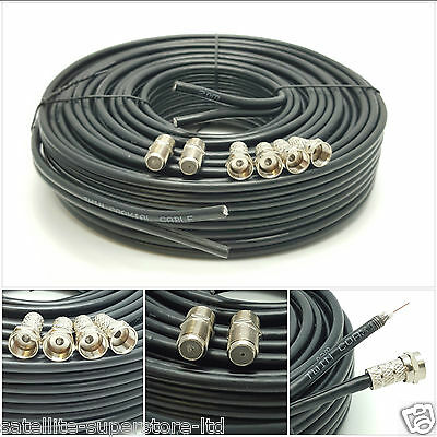 1m Black Twin Satellite Sky Freesat Coax Cable Connectors/&Barrels Fitted