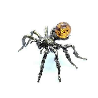 1Bronze Brass Figurine Statuette Russian Spider Baltic Amber # 134-2