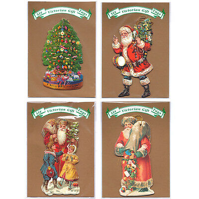 40 Victorian Santa & Christmas Tree in Cello Packs of 6 Gift Tags XT0045