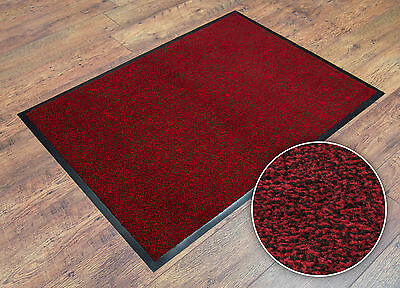 Red 7mm Thick Machine Washable Non-Slip Dirt-Barrier Office Shop Home Floor Mat