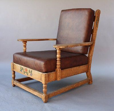 1930s Monterey Rancho Armchair Leather Antique Club Chair Hand Painted (7730)