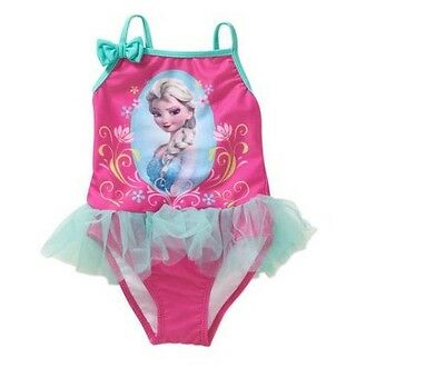 NEW Toddler Girls Disney Frozen Pink Tulle Tutu Skirted One Piece Swimsuit 2T