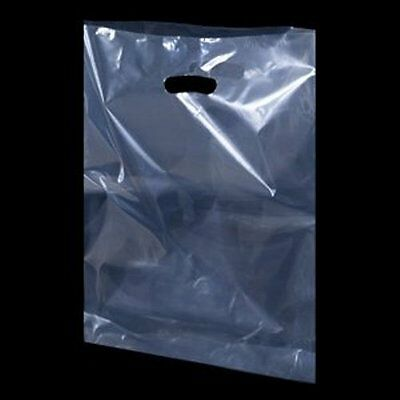 "100 Clear Plastic Polythene Shopping Carrier Bags Patch Handle  10"" x 12"" x 4"""