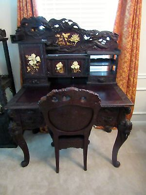 Ornately Carved Japanese Desk & Chair Dragons Flowers Meiji Style Museum Quality
