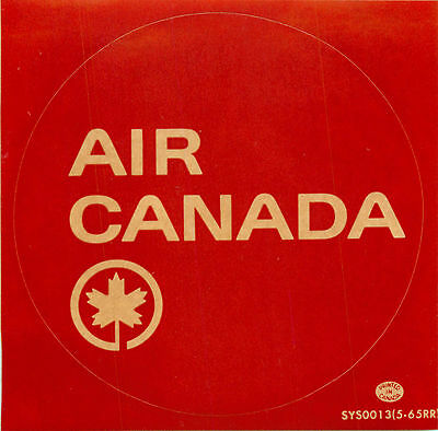 AIR CANADA - Great Old Maple Leaf Airline Luggage Label / Decal, 1965