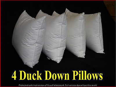 Duck Down Pillows  Inserts  4 X Standard Size   90% Duck Down 100% Cotton Casing