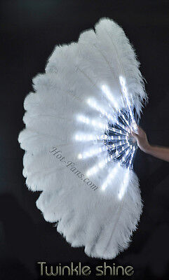 "White Glittery LED Shine Bushy Double Ostrich Feather Fans Burlesque 28""x 53"""
