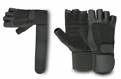 Bus Driving Gloves Weight Lifting Fingerless Wheelchair Gym Leather Padded Palm