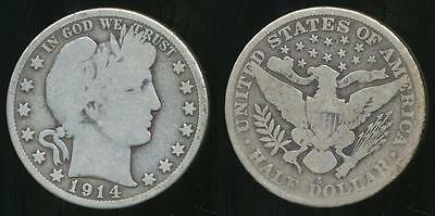 United States, 1914-S Half Dollar, Barber (Silver) - Good