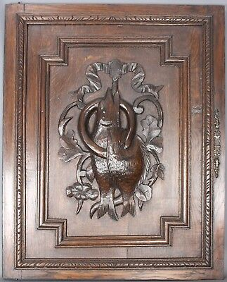 Antique French Architectural Carved wood Panel Hunting scene