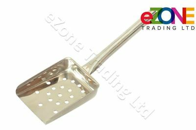 Stainless Steel Tubular Chip Scoop Server Shovel French Fries Perforated Holes