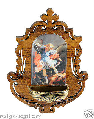 Wooden St Michael The Arcangle Holy Water Font, Catholic Religious Gifts Favors