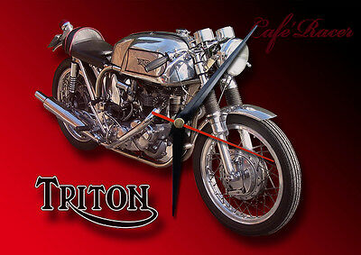 Classic British Triton Cafe Racer Motorcycle Metal Clock