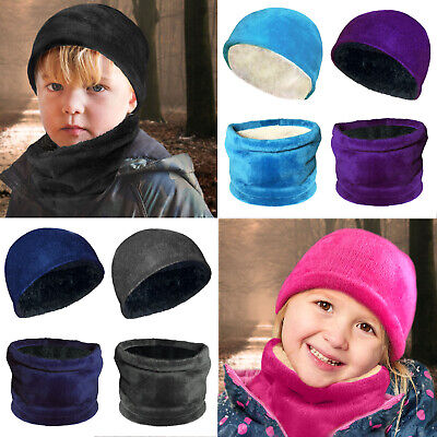 Kids Boys Girls Warm Winter Fleece Lined Hat Scarf Neckwarmer Snood Set