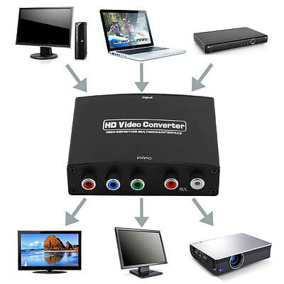 HDMI to RGB Component (YPbPr) Video +R/L Audio Adapter Converter HD TV HS
