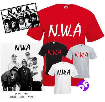 NWA Tshirt Dr Dre Ice Cube EasyE Compton All Sizes Various Colours Hiphop Rap