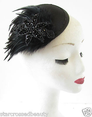 Black Feather Pillbox Hat Fascinator Headpiece Cocktail Funeral Races Beaded R76
