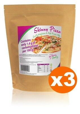 3 Packs of Skinny Pizza - Ready Mixture, Low Carb, High Protein, Gluten Free