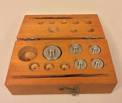 Vintage Set of Nickel Plated Scale Weights Set in Wood Base 5 to 50 Gram Weights