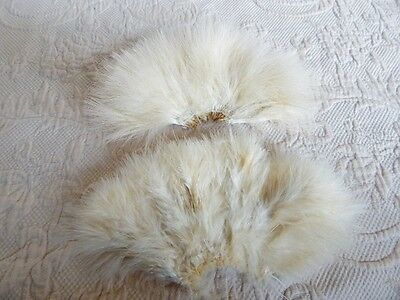 Vintage Millinery Fluffy Ivory Feather Bands For Hats
