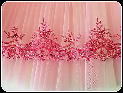 1m 11cm wide Pink Embroidered Silver Sequin Tutu Plate Trim Lace Dance Ballet