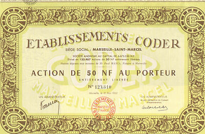 Coder Company    1962 Marseille France bond certificate