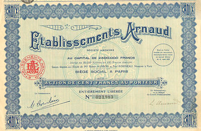 Arnaud Company  > 1929 Paris France bond certificate