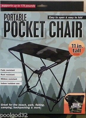 Portable Cammo camouflaged Pocket Chair With Carrying case camping fishing hunt