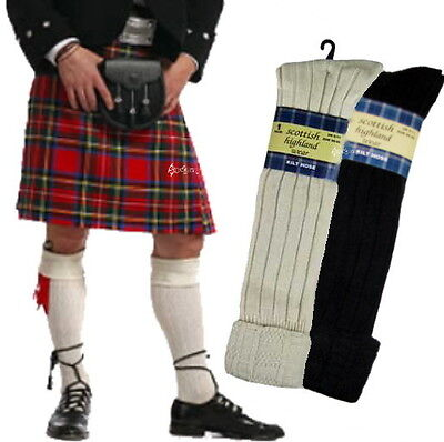 Men's Traditional 65% Wool Blend Long Hose Kilt Socks Scottish Highland 1,3 or 6