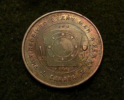Rare Early 1900's Dauphin Manitoba Free Masons Penny Token Challenge Coin