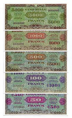 """SET DE 5 BILLETS 1944 """"Allied Military Currency"""" (REPRODUCTION)"""