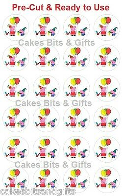 24 x PEPPA PIG PARTY Edible Wafer Cupcake Cake Toppers, Pre Cut & Ready to Use.