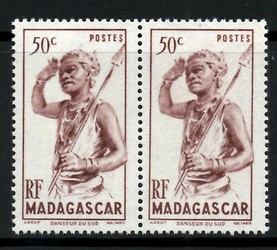 (Ref-5976) Madagascar 1946  50c Native with Spear  SG.299   Mint Pair  (MNH)