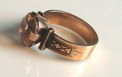 Stunning Antique Victorian ca. 1870 Solid Gold and Large Stone Ring Size 8